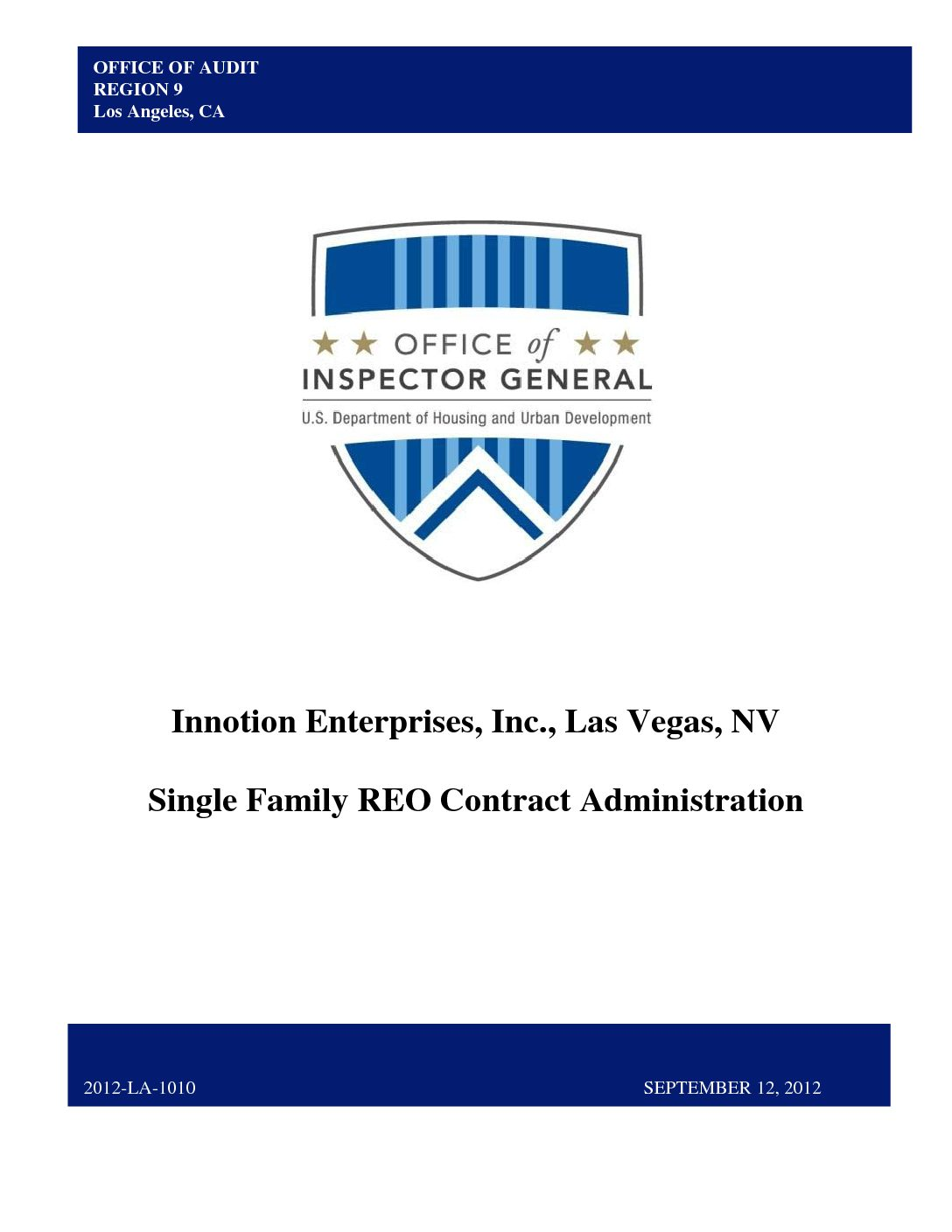Innotion HUD OIG Report