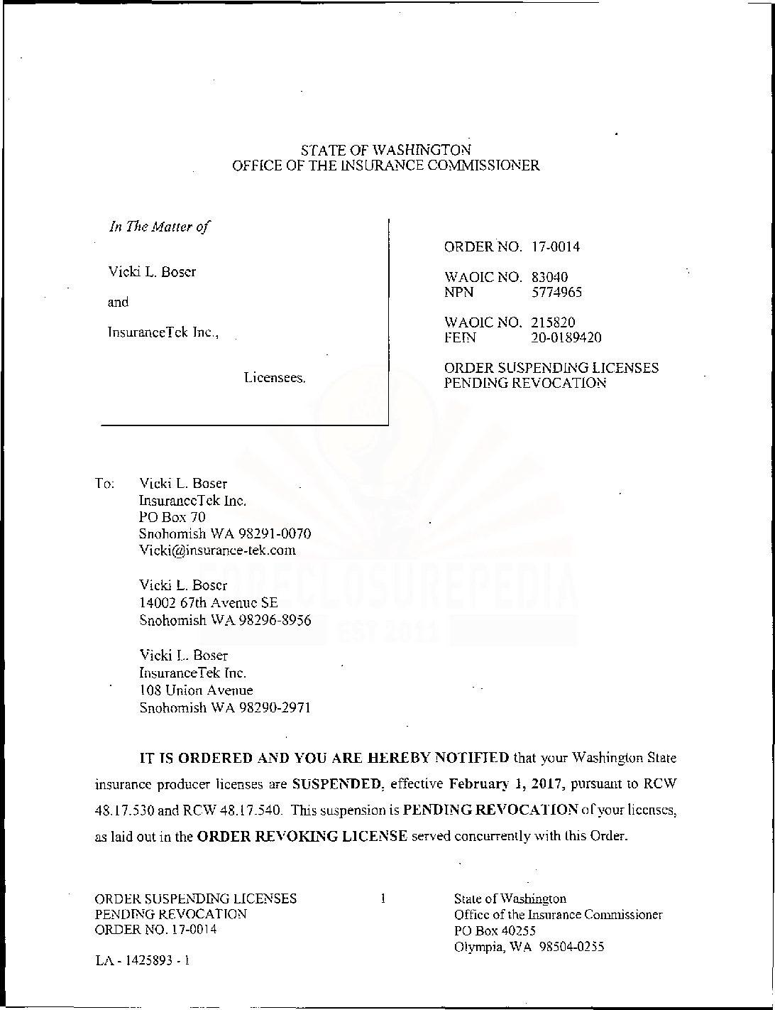 Boser Licensing Order