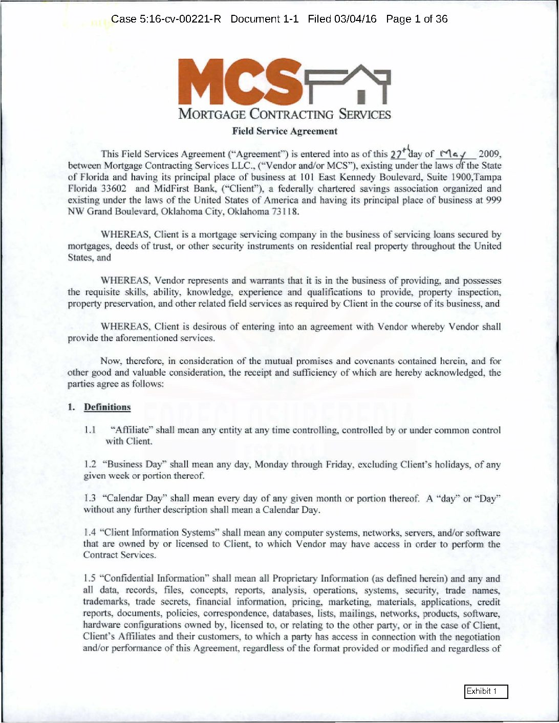 MidFirst v MCS Contract