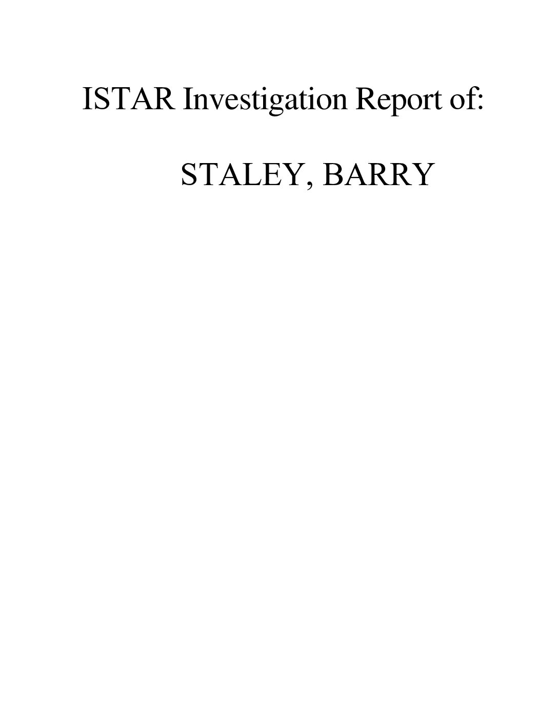 Investigation Report Staley